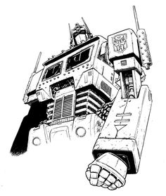 Optimus Prime, the leader of Autobots. Transformers Characters, Epic Characters, Transformers Optimus Prime, Transformers Drawing, Transformers Coloring Pages, Outline Pictures, 90s Cartoons, Classic Cartoons, Artwork Design
