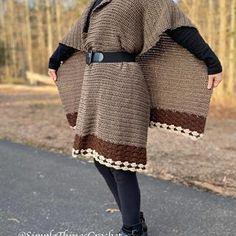 Ravelry: Brenna Poncho pattern by Tia Edwards Crochet Poncho Patterns, Crochet Shawl, Easy Crochet, Crochet Sweaters, Crochet Tops, Crochet Scarves, Crochet Clothes, Half Double Crochet, Single Crochet