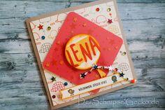 Stampin Up Karte zur Geburt / Baby - Luftballons - Tierische Grüße - Pailletten - Designerpapier Süße Kleinigkeiten -  DerSchnipselGecko  http://dini.derschnipselgecko.com/stampin-up-baby