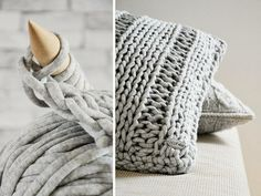 How to knit a chunky ribbed pillow cover. An easy project for beginner knitters. Chunky Knitting Patterns, Crochet Patterns, Knit Basket, Crochet Decoration, Knitting For Beginners, Diy Pillows, Knitted Bags, Merino Wool Blanket, Diy Tutorial