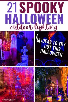 These Halloween outdoor decor ideas are AWESOME!! I'm definitely going to have the best front yard Halloween lighting in the neighborhood using these ideas. Halloween Graveyard, Spooky Halloween Decorations, Halloween Scene, Halloween Banner, Outdoor Halloween, Scary Halloween, Halloween Themes, Halloween Lighting, Halloween Stuff