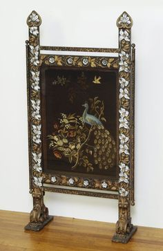 Edwardian Ebonised Oak Firescreen Decorated Needlework Panel Perching Peacock To Have A Long Historical Standing Antiques