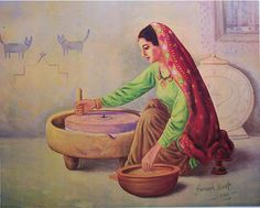 Household Chores, your way to health - GOQii Art Village, Village Scene Drawing, Rajasthani Painting, Rajasthani Art, Mughal Paintings, Indian Art Paintings, Art And Illustration, Save Water Poster Drawing, Poster Color Painting