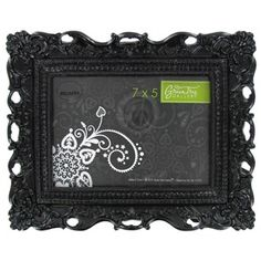 """Green Tree Gallery 7"""" x 5"""" Black Glossy Ornate Resin Picture Frame 