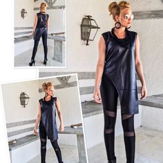 Black Faux Leather Asymmetric Blouse by Synthia Couture