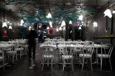 schwarz weiß Restaurant