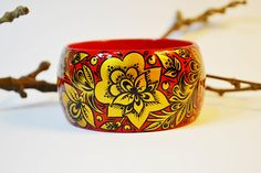 Hand Painted  Bracelet Wooden Bangle  Russian folk style