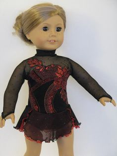 Black Ice Skating dress for American Girl Dolls by DesignsforIce
