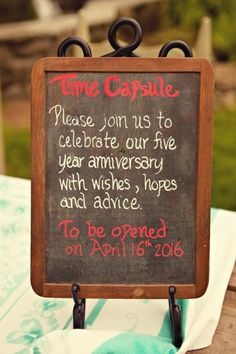 Have guests help you create a 5 year time capsule with memories from the wedding day, advice and well wishes