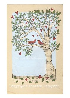 Love Archival print Lovebirds in tree Perfect by carambatack