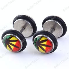Steel Leaf Coin Barbell Ear Studs Fake Cheater Stretcher Expander Plug 18G