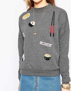 Image 3 of Pull&Bear Sushi Embroidered Sweatshirt