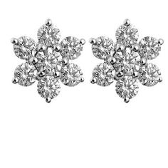 0.35ct F I1 Diamond Snowflake Earrings in 18k Gold ($848) ❤ liked on Polyvore