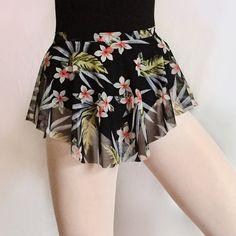 Light, cool and summery! Royall Dancewear dance ballet SAB skirt in tropical print mesh.