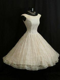 Vintage 50's 50s Ivory White Lace Chiffon Party PROM Wedding DRESS