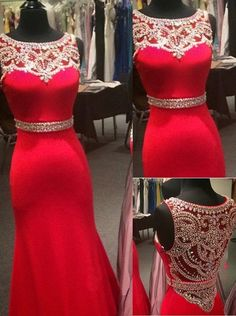 New design red satin modest slim beaded long prom dress