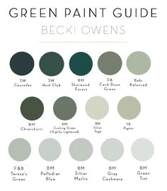 2018 Trend: Sage Green CabinetryBECKI OWENS Today we are sharing a trending color for sage green. This soft green-grey is a fresh neutral that looks beautiful on cabinetry. Check out these laundry rooms and kitchens + check out our green paint guide. Green Paint Colors, Interior Paint Colors, Paint Colors For Home, Sage Green Paint, Sage Green Walls, Green Shades Of Paint, Green Wall Color, Paint Shades, Silver Sage Paint