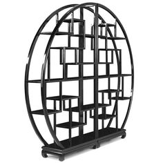 Chinese Circular Display Shelf, Black Lacquer