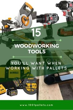 Saving money and recycling is fashionable again, and that includes DIY pallet crafting. However, woodworking with the wrong tools adds time and frustration to your projects. That's why we've got a list of the Top 15 Pallet Tools for your pallet DIY ideas! Increase your comfort,... #BenchPlane, #CenterPunch, #ChopSaw, #CircularSaw, #ClawHammer, #CompoundSaw, #CordlessDrill, #CordlessImpactDriver, #CordlessTools, #Diy, #Drill, #Hammer, #HandPlaner, #HearingProtecti