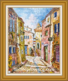 Decorate and Enjoy your Home with Provencal Fine artwork with Original Village	(Rue 	Haute  GORDON) by renowned French Artist Philippe GIRAUDO. 	www.livelifeprovence.com #llprovence Fine Artwork, Painting, Artwork, French Artists, Original Artwork