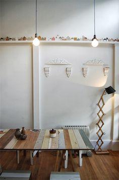 cute houses. rustic wood table
