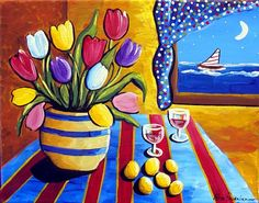 Whimsical Still Life Tulips Sailboat Colorful Folk Art Painting on Etsy, $129.00