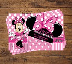 Pink Minnie Mouse Invitation by RaynebowShoppe on Etsy Custom Birthday Invitations, Baby Shower Invitations, Pink Minnie, Minnie Mouse, Ice Cake, Bday Girl, All Design, 2nd Birthday, Rsvp