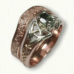 14kt Rose Gold Celtic Triangle Knot Shadow Band for Marishelle Engagement Ring  - Email for Estimate today