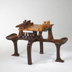 Ordinaire JAMES CAMP Chess Table USA, 1973 Rosewood, Walnut, Maple 32 W X 52 D X 30 H  Inches