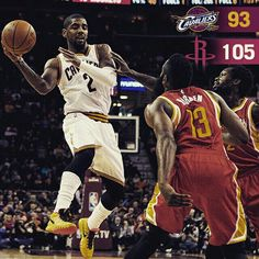 Despite a spectacular 38pt, 3ast performance from @k1irving, #Cavs fall to the Rockets, 105-93. Visit cavs.com soon for post game recap. #CavsRockets