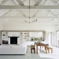 This pic has done the rounds of insta - but it's such a beautiful space - too good not to share. Lake House- Montauk NY Robert Young Architects Photography: Michael Moran #white #whitespace #beachhouse #montauk #beams #architecture #design #housedesign #homedesign #interior #interiors #instadecor #instadesign #instainteriors #decor #homedecor