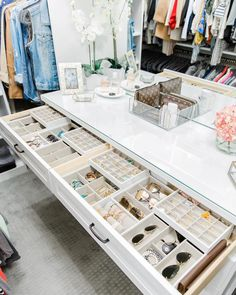 California Closets- A white custom closet dresser is fitted with jewelry drawers… - Home & DIY Walk In Closet Design, Bedroom Closet Design, Master Bedroom Closet, Wardrobe Design, Closet Designs, Walk In Wardrobe, Bedroom Sofa, Walking Wardrobe Ideas, Small Walk In Closet Ideas