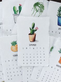 Succulent Watercolor Calendar by CaitlinMRitchie on Etsy