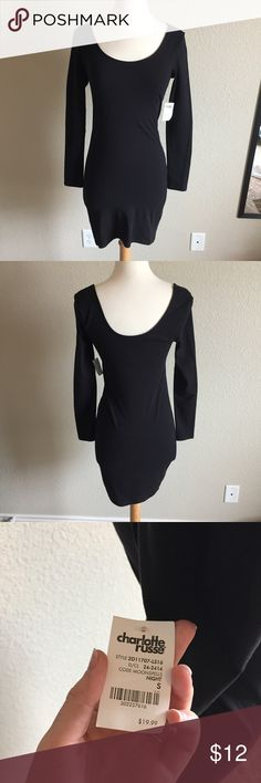 NWT Black Dress (54) Smooth black dress with long sleeves. Brand new. Tag size small. Bust- 15 inches Waist- 13 inches Length- 32 inches Charlotte Russe Dresses Long Sleeve