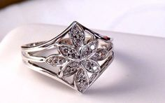 Vintage Diamond Cluster Ring/9K White Gold by EclairJewelry, $138.00
