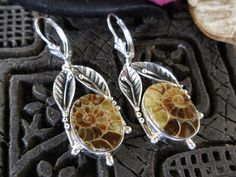 Made with Fossil Ammonite cabochons and sterling silver with leverback earring wires.