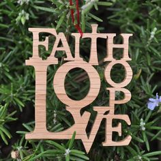 Faith Hope Love Christmas Ornament Scrollsaw Oak. $10.00, via Etsy.