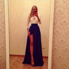 Fine Quality Slit Design V Neck Maxi Dress