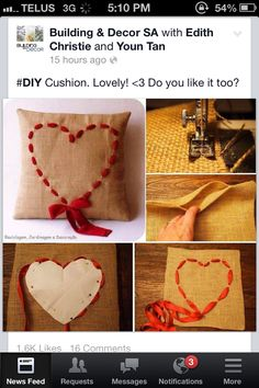 Stitched heart on burlap cushion