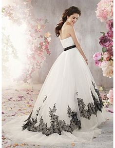 Black+and+White+Wedding+Dresses   wedding gowns > Strapless gowns > Strapless black lace appliques white ...