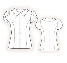 Blouse  - Sewing Pattern #4379 Made-to-measure sewing pattern from Lekala with free online download. Fitted, Princess seams, Pleats, Hidden button panel, Round neck, Peter Pan collar, Short sleeves, Set-in sleeves, No pockets
