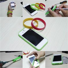 Here is a super cute idea to make an easy iPhone bumper case with silicone bracelet. Take a silicone bracelet with your favorite color and stretch it. Wrap it around the iPhone. Use a pen to mark down the areas for earphones, charger, etc. Carefully cut out the slots and wrap the …