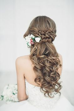 Cute Half Up Half Down Wedding Hairstyles / http://www.deerpearlflowers.com/15-stunning-half-up-half-down-wedding-hairstyles-with-tutorial/2/