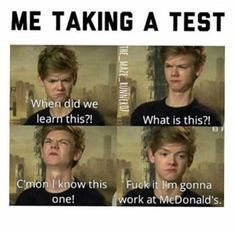 The Maze Runner Funny F*ck exams Books Funny School Memes, Crazy Funny Memes, Really Funny Memes, School Humor, Stupid Memes, Funny Relatable Memes, Haha Funny, Funny Cute, Funny Texts