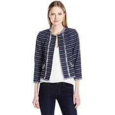 Ivanka Trump Women's Tweed Jacket ($90) ❤ liked on Polyvore featuring outerwear, jackets, tweed jacket, tweed fringe jacket, peplum jacket, ivanka trump and ivanka trump jacket
