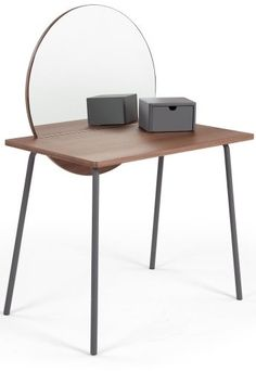 The Aldo Dressing Table in Walnut and Charcoal, from the MADE.COM with @LivingetcUK collection. A statement piece of pop art for your bedroom - with metal legs and a trinket box. £279 | MADE.COM