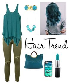 Hair Trend Teal by houseofvavavoom on Polyvore featuring polyvore beauty MAC Cosmetics Casetify Bling Jewelry Michael Kors prAna Current/Elliott hairtrend rainbowhair