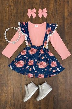 Dusty Rose and Navy Floral Suspender Skirt Set