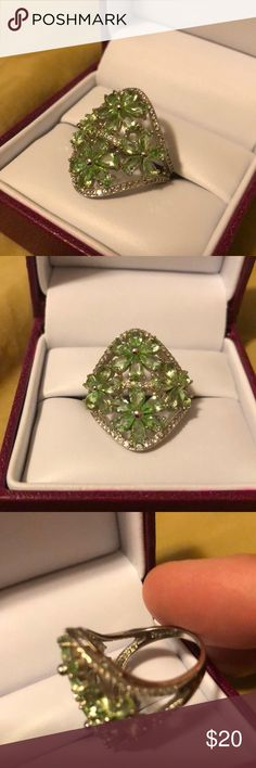 Valentine's Day 💚 green garnet ring Gorgeous brand new multi-stone green garnet ring in a flower design. Size 8. Stamped .925   Perfect to make your Valentine's Day Jewelry Rings