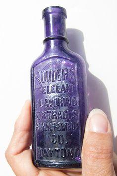bottles.quenalbertini: Victorian purple glass bottle